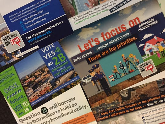 Fort Collins voters received numerous mailers before the Nov. 2017 election on the city's broadband ballot measure.