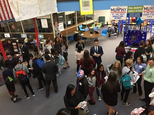 Students attend a gubernatorial mock election forum