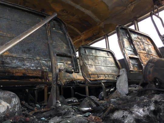 Inside the burned bus