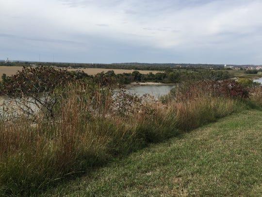 The Missouri River, upstream from Floyd's Bluff, near