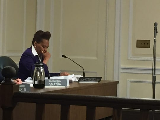 Councilwoman Nadine Hunt-Robinson, who decided to vote