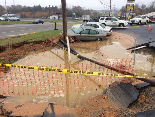 A sinkhole at 570 Highway 46 South in Dickson in the