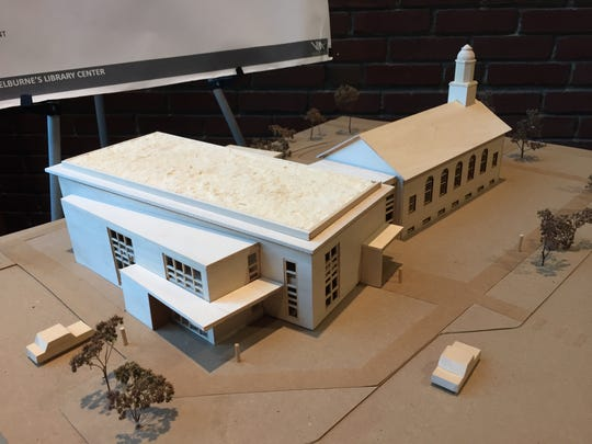 A model of the proposed new Shelburne library, adjacent