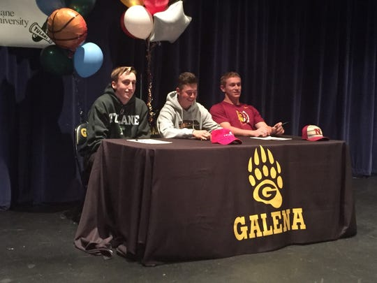 Galena had three athletes sign for college in a ceremony at the school on Thursday, Moses Wood, Pres Mackelburg and Niko Pezonella.