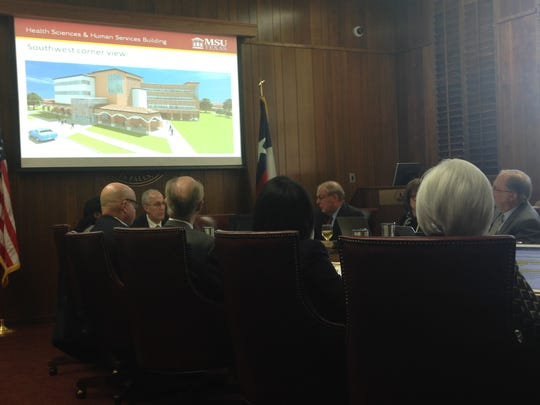 The Midwestern State University Board of Regents discusses Thursday proposed changes to save money on the planned health sciences building. Bids for work came in more than $7 million more than expected.