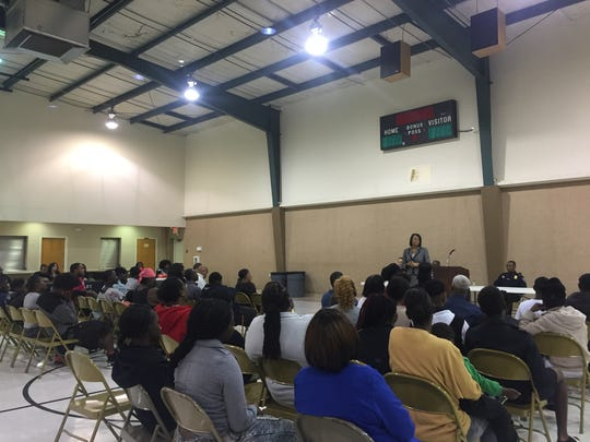 Caddo Parish District Attorney James Stewart and other members of law enforcement spoke to two dozen of Caddo Parish's most criminal youth at a special Thursday meeting.