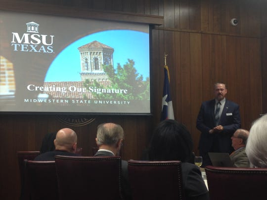 Dr. James Johnston talks to the MSU board of regents