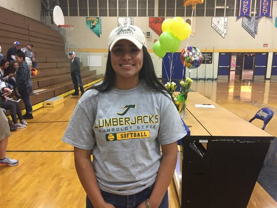 Reed's Carla Hernandez signed her Letter-of-Intent to play softball for Humboldt State  on Wednesday.