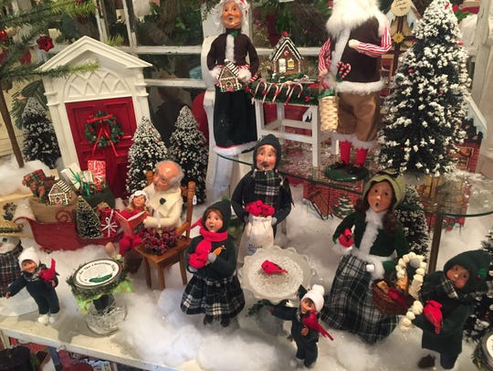 Holiday and Christmas decorating items on display at
