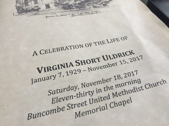 Program for the Celebration of the Life of Virginia Uldrick on Saturday.