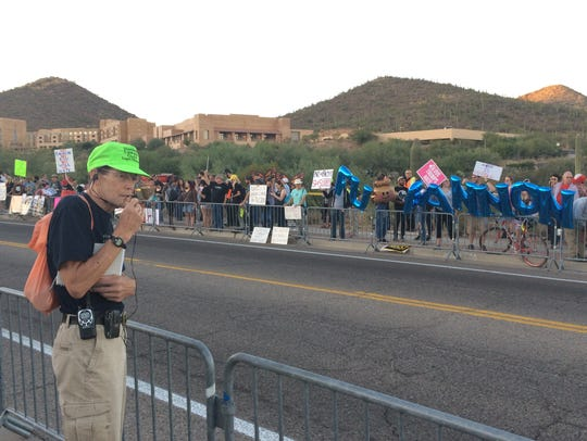 Protesters lined the road toward the J.W. Marriott