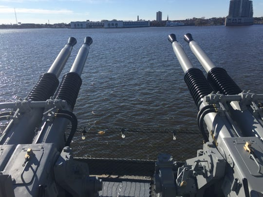 A four-barreled 40 mm Quad 40 Bofors Mount anti-aircraft artillery weapon returned in like-new condition to the retired battleship New Jersey after 50 years.