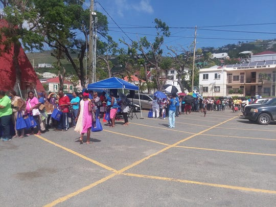 Part of the help Galvez and Reovan offered on St. Thomas was to hand out supplies to residents in need.