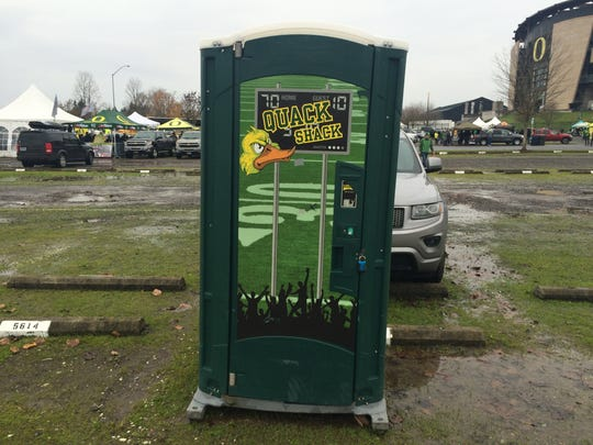 Even the portable restrooms at Autzen Stadium are green and yellow.