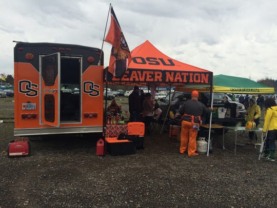 Beavers fans in a truck and tent have staked out their