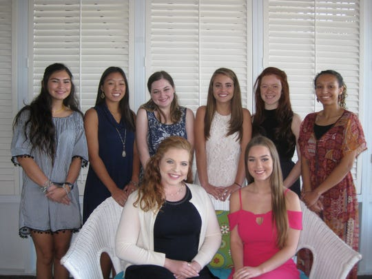 At the Etiquette Workshop: Brynna Watring (standing left to right), Cassidy Chen, Sarah Kurtz, Julianna Talley, Rayelynn Orona, Izabella Hochmuller. Sitting: Jayna Grove (left) and Laura Winston