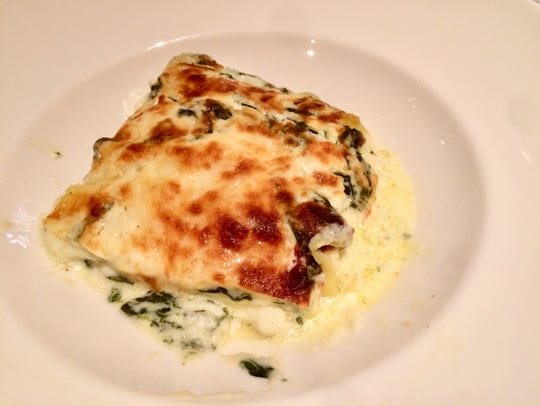 The vegetarian lasagna ($18) is layered with ricotta