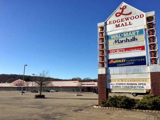A banner assures customers that the Ledgewood Mall