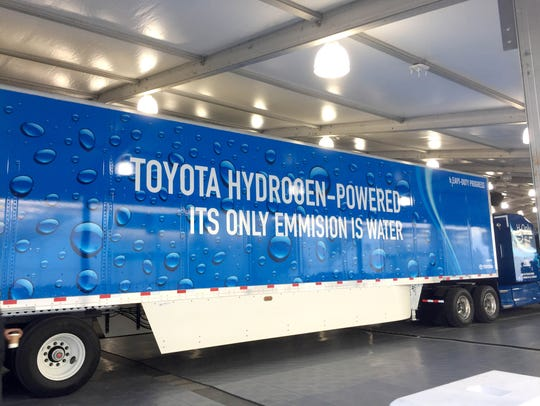 """The word """"emission"""" is misspelled on a truck promoting"""