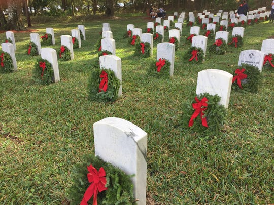 Wreaths placed at veteran's graves at Florida National Cemetery in Bushnell. The Pilot Club of St. Lucie County is part of the fundraising efforts of Wreaths Across America for a fourth year. To sponsor a wreath, please contact Charlene Moses at 772-878-3982 or Barbara McKenzie at 772-607-0020.