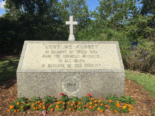 After being contacted by a Vero Beach resident, the Freedom From Religion Foundation asked the city of Vero Beach to remove the cross above this monument on Veterans Memorial Island Sanctuary or move it to private property.