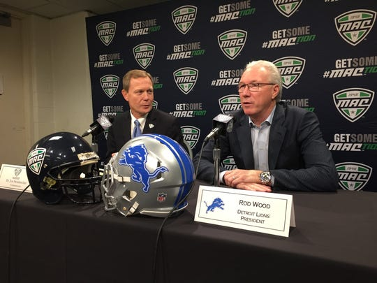 (From left) MAC commissioner Jon Steinbrecher and Lions president Rod Wood speak to the media on Friday at Ford Field.