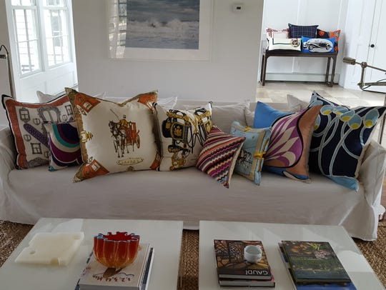 Some of the pillows designed by Kari Hershey of Rumson.