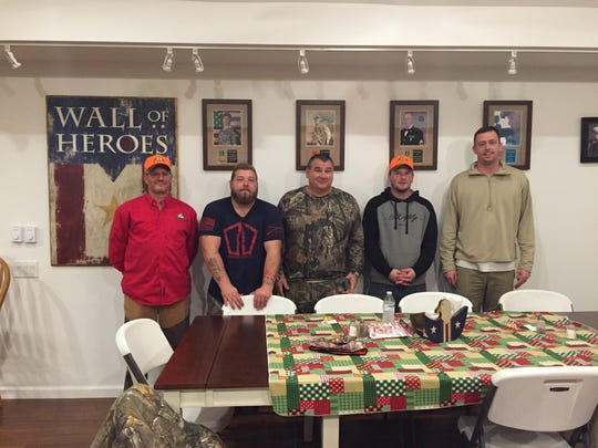 Jack Knouse (left) from Luzerne County, Ryan Wilcox (middle left) from Fulton, NY, Tommy Collum from Montreal, MO (middle), Colin Norton from Potter County (middle right) and Eric Zastoupil from Crofton, MD (far right) during a LEEK bear hunt.