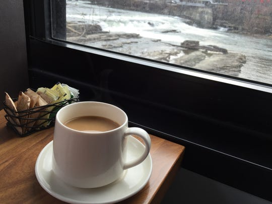 Coffee with a view at Waterworks Food + Drink in Winooski.