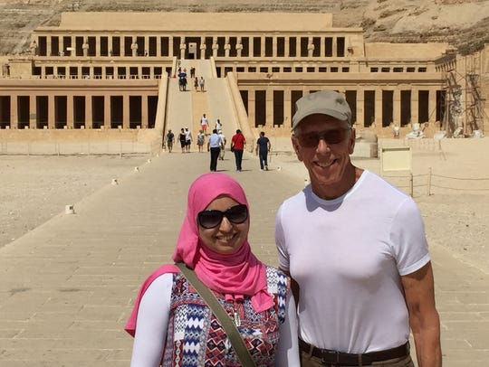 Richard Alther of Palm Springs and an Egyptian woman