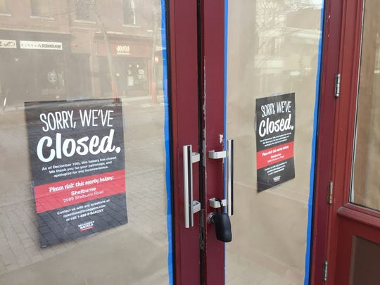 A sign on the former Bruegger's Bagels store on Church Street in Burlington recommends that customers visit the Shelburne eatery.