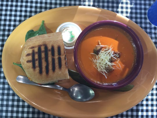The Terra Special and tomato basil bisque soup at Green Light Cafe in Fort Collins.