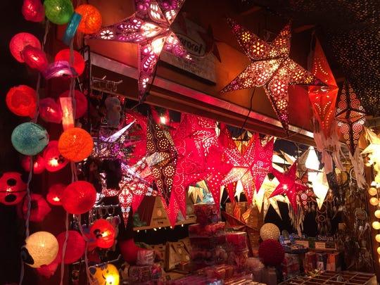 Lit paper stars at the Basel Christmas market.