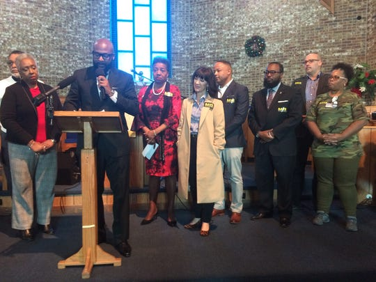 The Rev.James Turner II, the vice president of the Interdenominational Ministers Fellowship, speaks on Wednesday during a press conference about support for Nashville General Hospital at Jefferson Street Missionary Baptist Church.