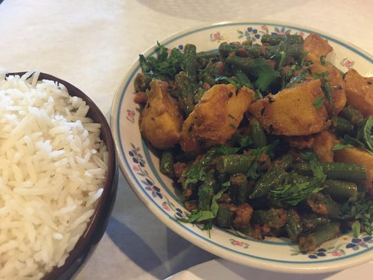 Green beans and potatoes, dry-fried Nepali-style