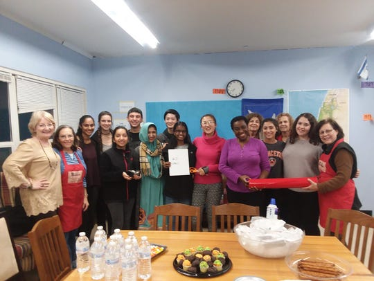 Pictured are Hadassah members with East Brunswick High