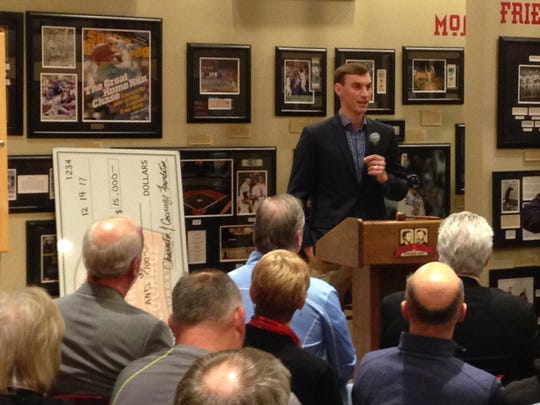 Milwaukee Brewers starting pitcher Brent Suter speaks to the Wright Society at Green Diamond Gallery about Joe Nuxhall Miracle Leagues.