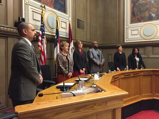 City Council members stand during a Dec. 7, 2017 swearing-in