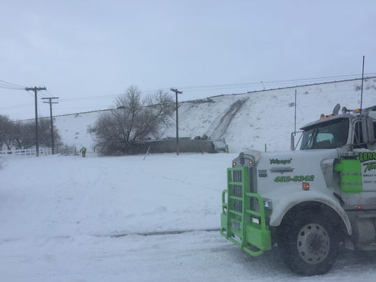 A semitruck slid off Interstate 15 near the Marketplace