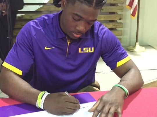Evangel's Micah Baskerville signs with LSU.