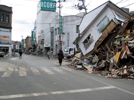 A building in Onagawa that was destroyed in the Tōhoku