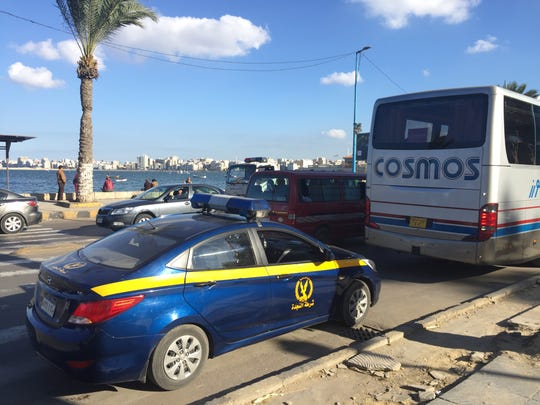 Because of safety concerns, tour buses in Egypt sometimes are accompanied by armed guards and police units.