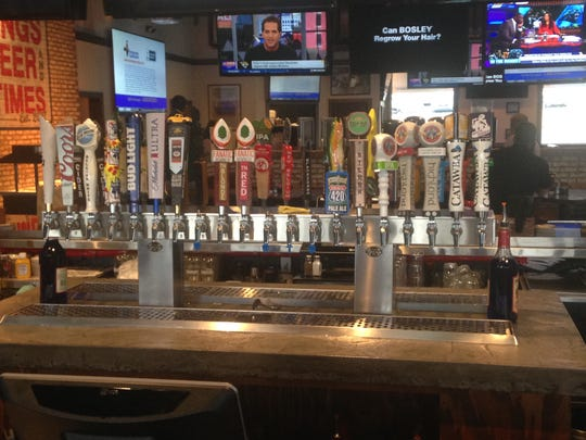Some 40 beers are on tap at the Wild Wing bar and another 12 are available on the outdoor patio.