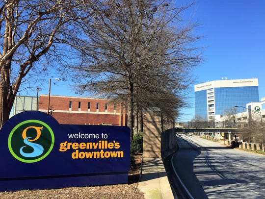Interstate 385 terminates a couple blocks east of downtown