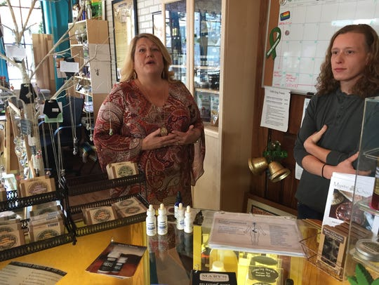 Kim Loeffler and her son, Jordan, sell CBD products