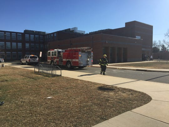 Firefighters responded to Veterans Memorial Intermediate School Jan. 2, 2018 after a small fire in the boys' bathroom.