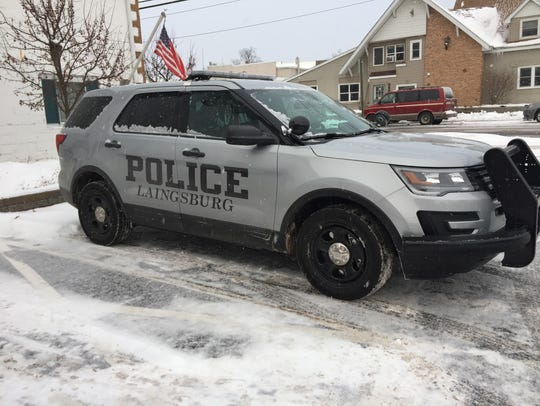 A Laingsburg police car is pictured outside Laingsburg