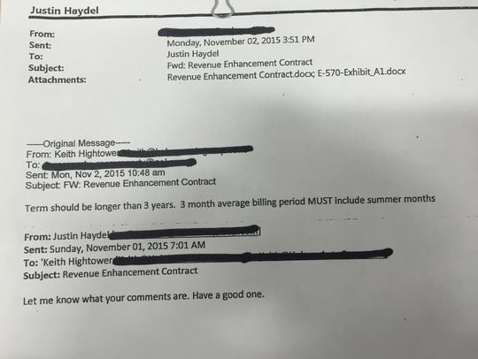 """A redacted email exchange about a """"revenue enhancement contract"""" mentioning Justin Haydel, Keith Hightower and Scott Pernici."""