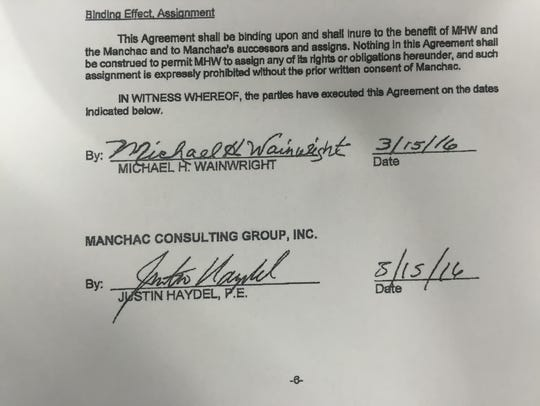 """A signed """"agreement"""" between Manchac's CEO and former"""