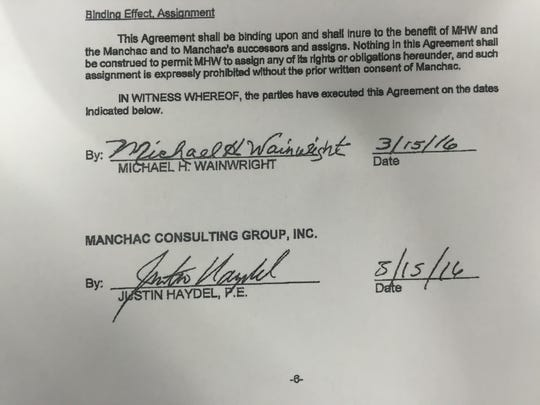 """A signed """"agreement"""" between Manchac's CEO and former Shreveport attorney Michael Wainwright."""